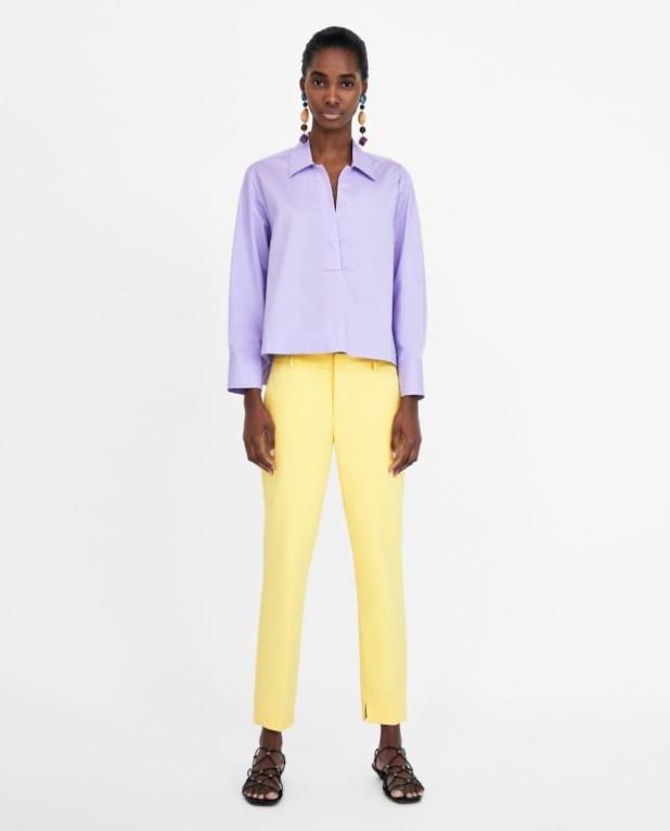 модные женские брюки: желтые 7/8