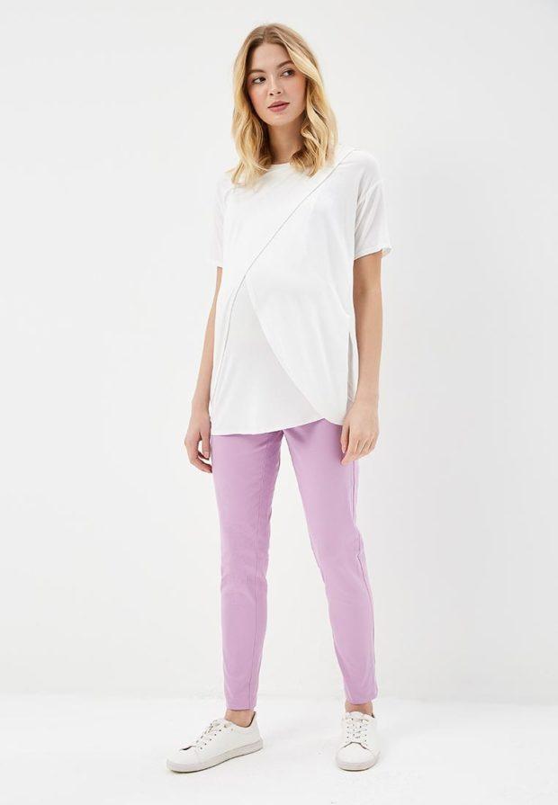 женские брюки 2020-2021: сиреневые узкие