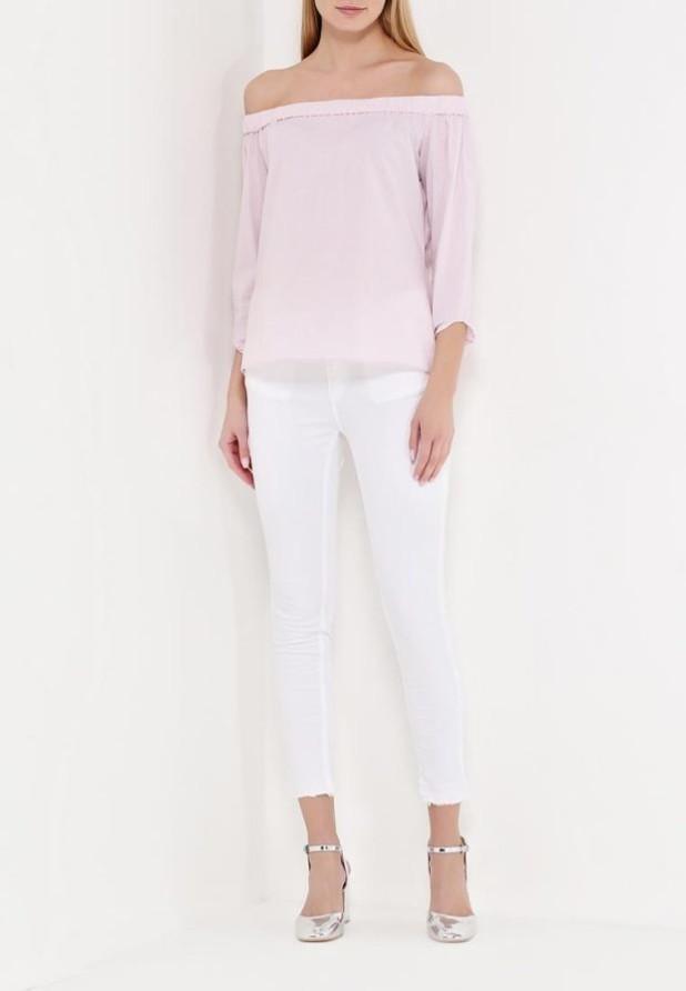 женские модные брюки: белые скинни
