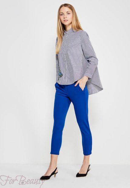 модные брюки женские 2019: синие скинни укороченные