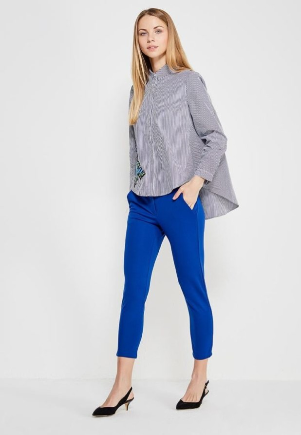 женские модные брюки: синие скинни укороченные