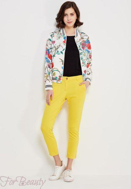 модные брюки женские 2019: желтые скинни укороченные