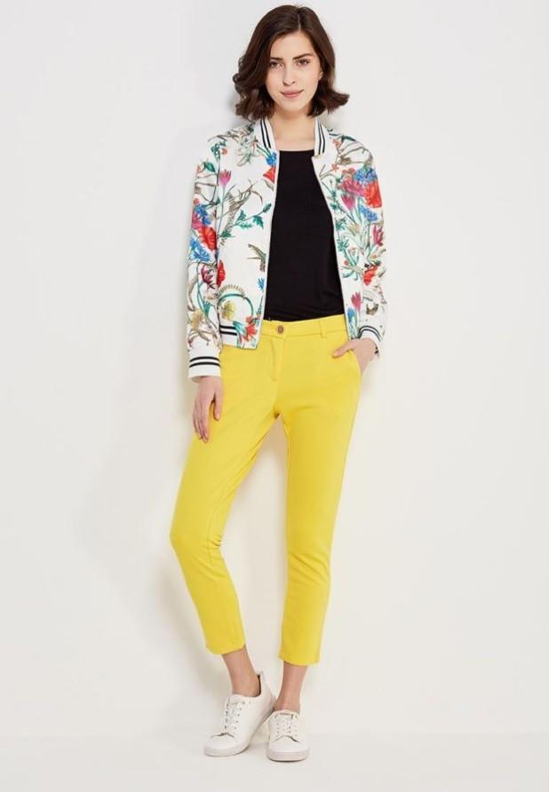 женские модные брюки: желтые скинни укороченные