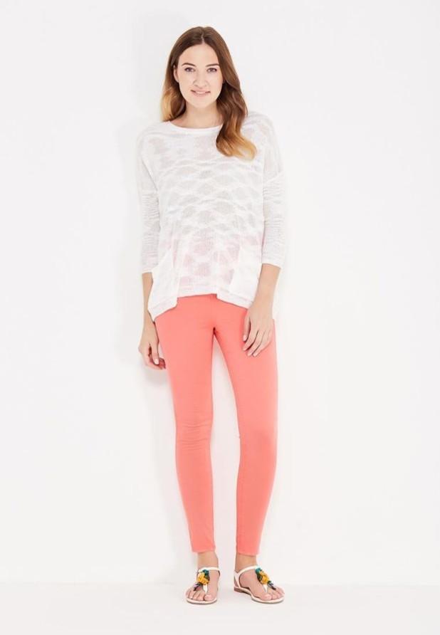 женские модные брюки: розовые скинни укороченные