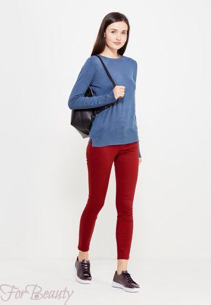 модные брюки женские 2019: бордовые скинни