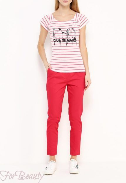 модные брюки женские 2019: красные скинни
