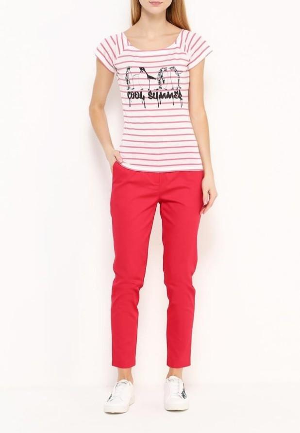 женские модные брюки: красные скинни