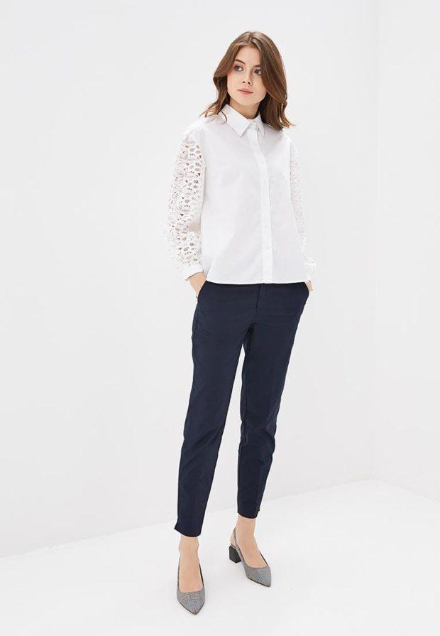 женские брюки 2020-2021 года: синие укороченные