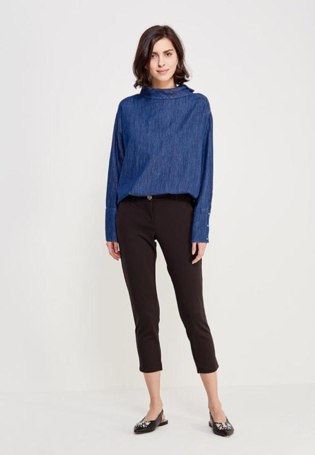 женские модные брюки: черные скинни укороченные