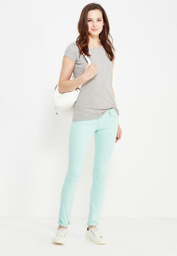 женские модные брюки: голубые скинни