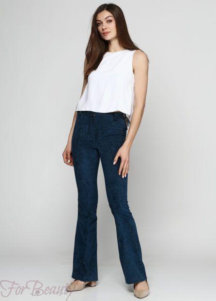 брюки женские 2019: клеш синие
