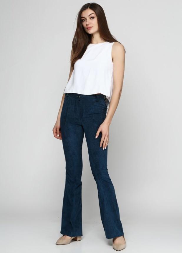 брюки женские 2018-2019: клеш синие