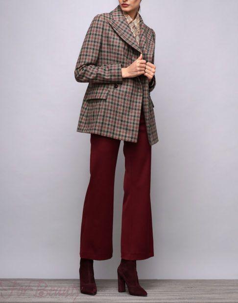 брюки женские 2019: клеш укороченные бордо