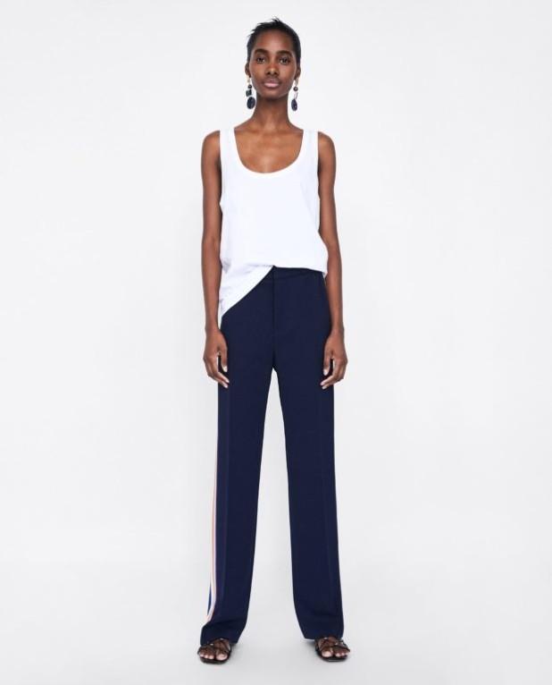 брюки женские 2018-2019 года модные тенденции фото: синие