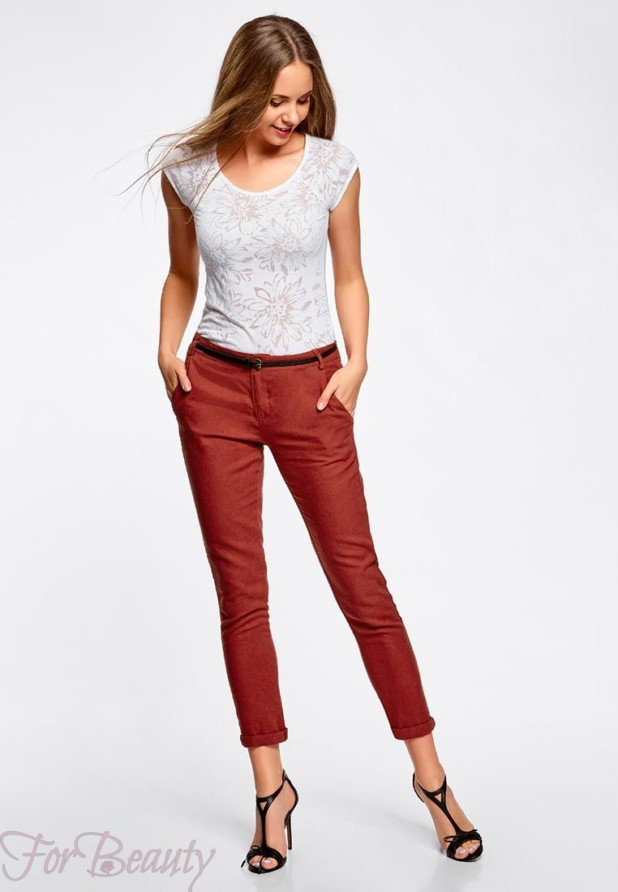 женские брюки 2019 года модные тенденции фото: бордовые укороченные