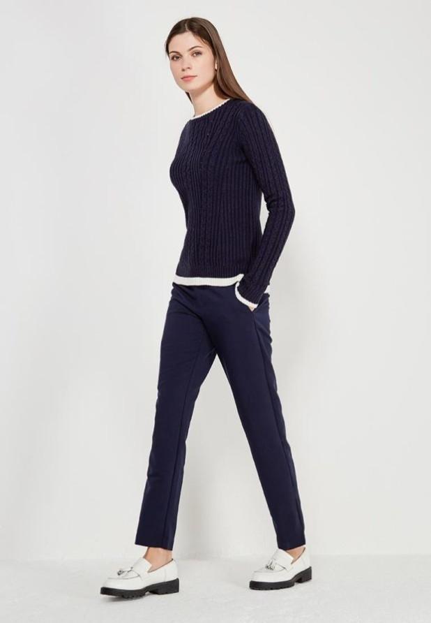 женские брюки 2018-2019 года: синие узкие