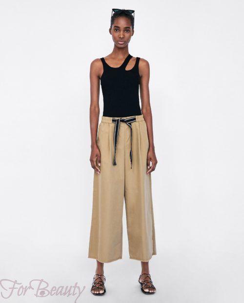 брюки женские 2019 года модные тенденции фото: бежевые