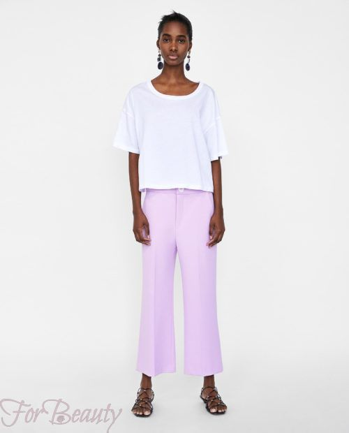 брюки женские 2019 года модные тенденции фото: сиреневые