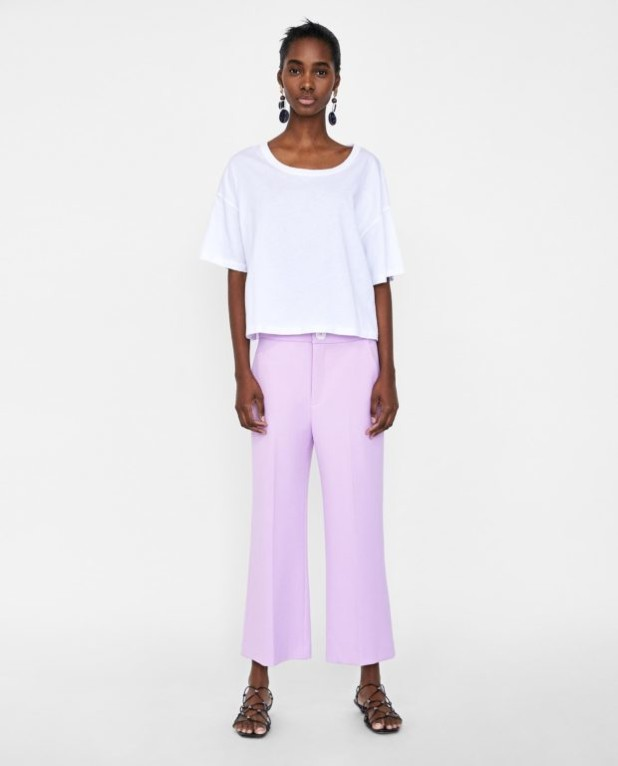 брюки женские 2018-2019 года модные тенденции фото: сиреневые