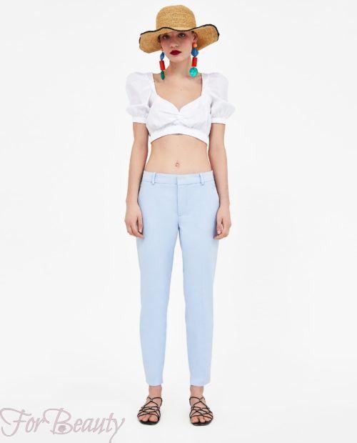 брюки женские 2019 года модные тенденции фото: голубые