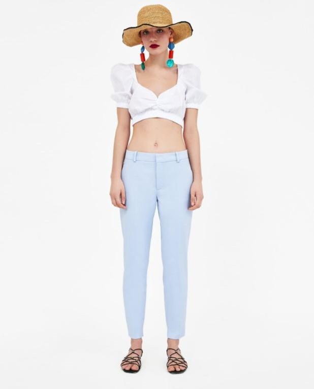 брюки женские 2018-2019 года модные тенденции фото: голубые