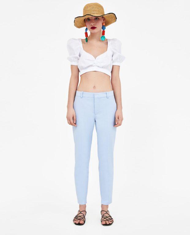 брюки женские 2020-2021 года модные тенденции фото: голубые