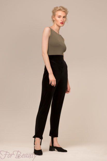 модные брюки в 2019 году для женщин: бархатные черные