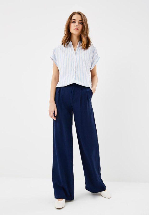 женские брюки 2021 года: синие широкие
