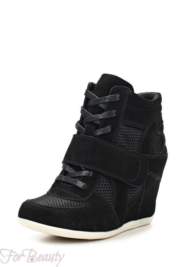 Модные черные кроссовки на танкетке 2018