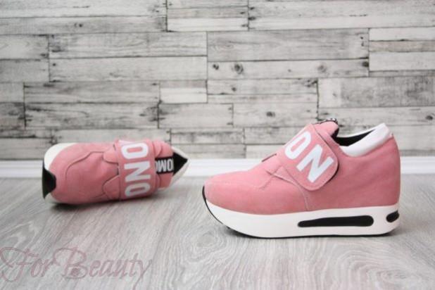 Модные розовые кроссовки с высокой подошвой