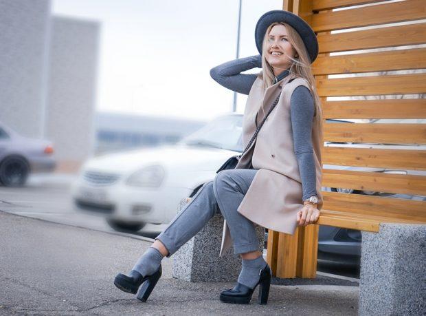 модные туфли 2018-2019: носки серые