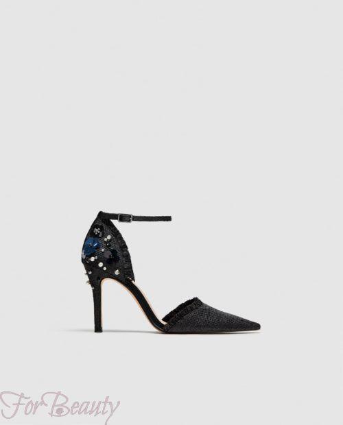 модные туфли 2018: со стразами высокий каблук