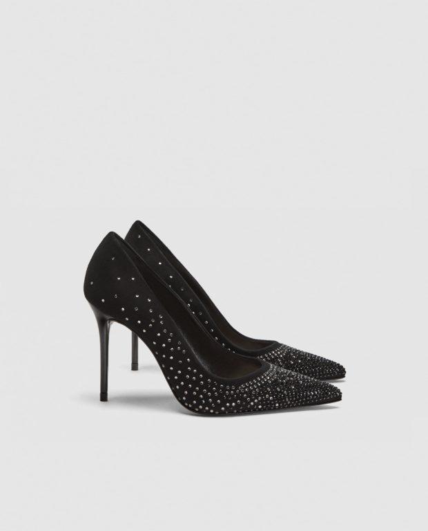 модные туфли 2018-2019: со стразами высокий каблук
