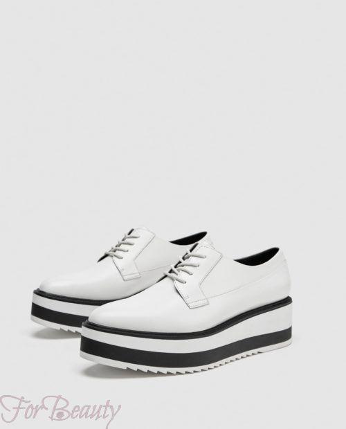 модные туфли 2018 фото женские: белые без каблуков