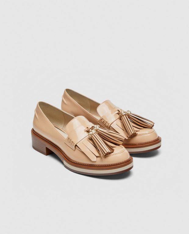 модные туфли 2018-2019 фото женские: бежевые без каблуков