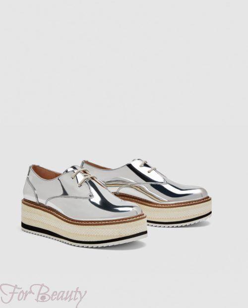 модные туфли 2018 фото женские: серебряные без каблуков