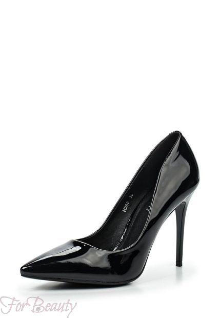 туфли женские 2018: черные высокий каблук