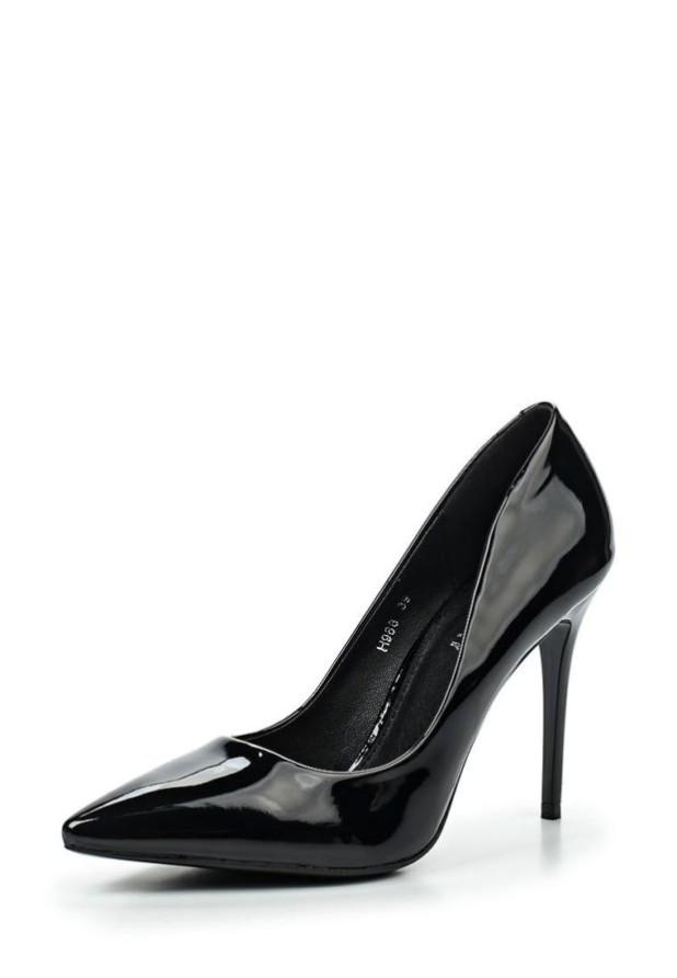 туфли женские 2018-2019: черные высокий каблук