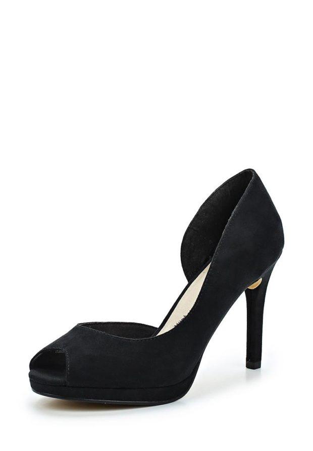 модные туфли 2018-2019 женские фото: черные с открытым носком