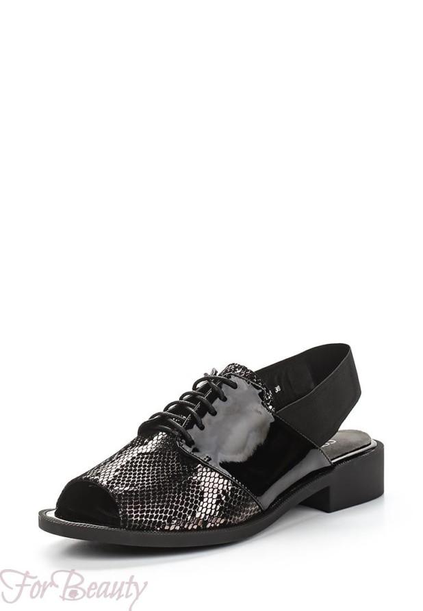 модные туфли 2018 женские фото: черные с открытым носком