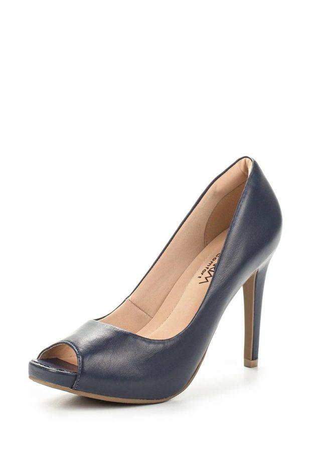модные туфли 2018-2019 женские фото: синие с открытым носком