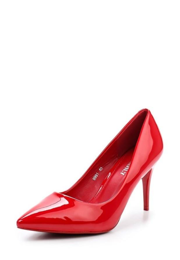 туфли женские 2018-2019: красные высокий каблук