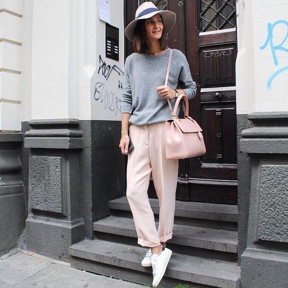 женские брюки 2018-2019 года модные тенденции фото: розовые прямые