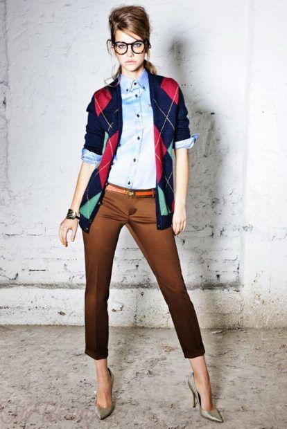 модные брюки женские 2019: 7/8 коричневые укороченные