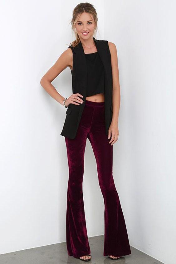 модные брюки в 2018-2019 году для женщин: бархат клеш красные