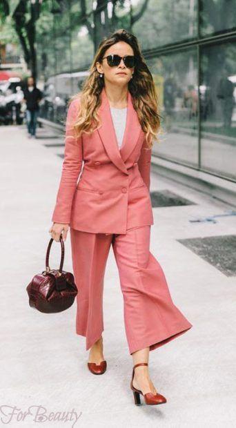 модные брюки 2019 женские: кюлоты розовые