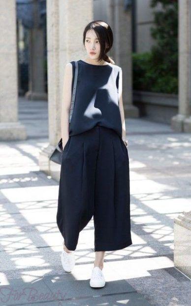 модные брюки 2019 женские: кюлоты синие темные