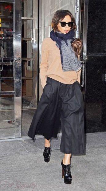 модные брюки 2019 женские: кюлоты черные
