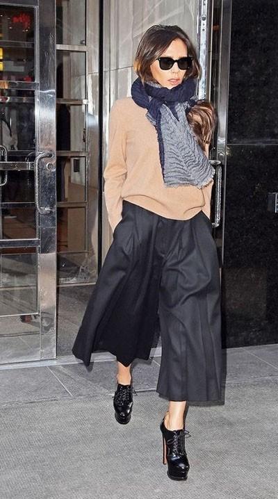 модные брюки 2018-2019 женские: кюлоты черные