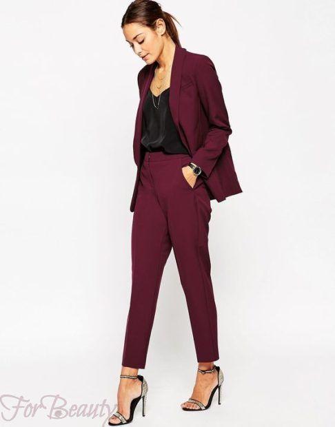 брюки женские 2019 года: скинни бордовые